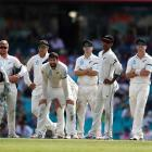 The Black Caps react to a DRS decision during their dismal tour of Australia. Photo: Getty Images