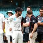 Kane Williamson and the Black Caps watch on after the third test against Australia finished in...