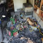 Trevor and Dulcie Turner's garage after the fire. Photo: Supplied