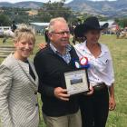 Christchurch Mayor Lianne Dalziel (left) and show president Tania Kiely (right) congratulate Paul...