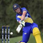 Otago top-scorer Dean Foxcroft hits through the offside in his side's Super Smash match against...
