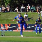 Otago all-rounder Anaru Kitchen bowls during his side Super Smash twenty20 match at the Hagley...