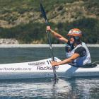 Hannah Johnston, formerly of Maitland, begins the 70km kayak stage of the longest day event, at...