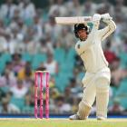 Tom Blundell of New Zealand bats during day two of the Third Test match in the series between...