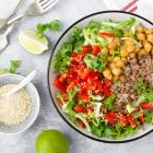 A plant-based offering of buckwheat and a salad of chickpea, pepper and lettuce. PHOTO: Getty...