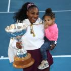 Serena Williams and her daughter Olympia with the ASB Classic trophy in Auckland this evening....