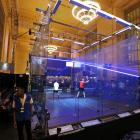 Players in action the first round of the Tournament of Champions squash event at Grand Central...