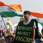 A man attends a protest at Jawaharlal Nehru University, on the outskirts of Mumbai, India, last...