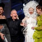 French designer Jean Paul Gaultier appears with models at the end of his Haute Couture Fall...
