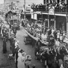Floats from the Maori community and the Taradale district in a Mardi Gras parade at Napier. -...