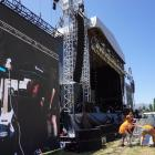Workers put the final touches on the stage area yesterday. PHOTO: GREENSTONE ENTERTAINMENT