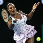 Serena Williams plays a shot during her Australian Open match yesterday. Photo: Getty Images