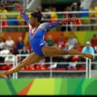 Simone Biles competes on the floor in the women's gymnastics. Photo: Reuters