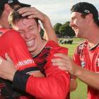 Leo Carter celebrates his accomplishment with his teammates. Photo: Photosport