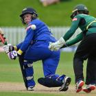 Top-scorer Millie Cowan flicks the ball past Hinds wicketkeeper Natalie Dodd at the University of...