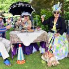 Enjoying the Dunedin Steampunk Society high tea at the Dunedin Botanic Garden yesterday are (from...