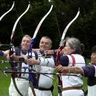 The 2004 Dunedin archery team of (from left) Ivan Powley, Garry Porter, Ann Holmes and Makoto...