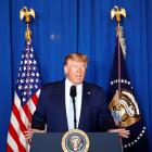 US President Donald Trump delivers remarks following the US Military airstrike against Iranian...