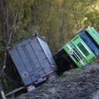 The remains of the Summerland freight truck at the bottom of Cluden Hill, in the Lindis Pass, in...