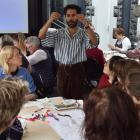 Fabric artist Areez Katki readies his tools for an embroidery workshop at Otago Museum on...