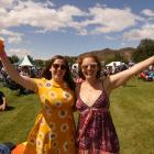 Sarah Bowden (left) and Caitlin Bowie, both of Dunedin, enjoy the sunshine during the Central...