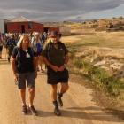 Walkers on the cavalcade embark from The Bend, near Paerau, yesterday morning, destined for...