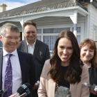 Rino Tirikatene looks on from the back as colleagues David Parker, Jacinda Ardern, Clare Curran...