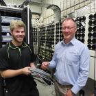 Ashburton Trust Event Centre manager Roger Farr (right) and technician Travis Stringer talk...