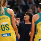Australia coach Lisa Alexander talks to her players during last year's World Cup final. Photo:...