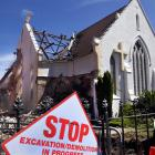 St James Church in South Dunedin was demolished yesterday because it was not earthquake-proof....