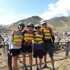 Alps 2 Ocean cycle trail riders (from left) Ania Camargo, Allison Watson, Andres Cortes, and Jon...