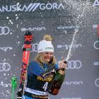 Alice Robinson celebrates her Women's Giant Slalom victory on the podium in Kranjska Gora,...