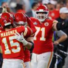 Kansas City Chiefs players celebrate their win over the San Francisco 49ers at Hard Rock Stadium...