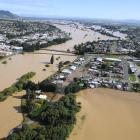 An aerial view of the flooded Mataura River and Gore. Photo: Stephen Jaquiery