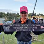Caitlyn Hey with the sash she won in the second New Zealand round of barrel racing in the NZ...