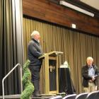 Ken Cochrane speaks at a Southland Recreational Whitebaiters Association public meeting in...