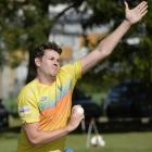 Otago captain Jacob Duffy sends down a delivery during a training session at the University of...