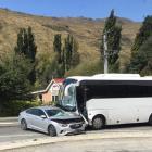 A car and bus crash near Kingston. Photo: Tom Kelly