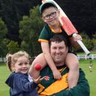 Veteran Green Island all-rounder Mark Joyce and children Indie (4) and Connor (7) get in some...