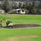 Work relaying the pitch block at Molyneux Park began earlier this week. Photo: Supplied