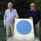 Dr Graeme Kerr (left) and Gavin Kerr stand beside a plaque dedicated to their grandfather, Dr...