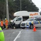 Emergency services at the scene of a fatal vehicle accident where a motorcyclist was killed at...