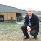 Shotover Primary School principal Ben Witheford shows the scale of the new build. PHOTO: GUY...