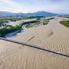 An aerial shot taken from above the Arundel Bridge shows the flooded Rangitata River. PHOTO: STU...