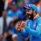 India's Virat Kohli celebrates as India win the match. Photo: Reuters