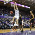Sam Timmins throws down a slam dunk for Washington against Stanford last week. Photo: Getty Images