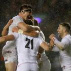 England's Ellis Genge celebrates scoring their first try with teammates. Photo: Reuters