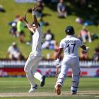 Tim Southee of New Zealand appeals successfully for the wicket of Ravichandran Ashwin of India...