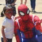 Riyana Kantharia and Spider-Man at the I Love New Brighton festival. Photo: Nichola Tyson