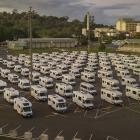 Campervans lined up at the ASB Showgrounds in Greenlane Auckland. Photo / Peter Meecham